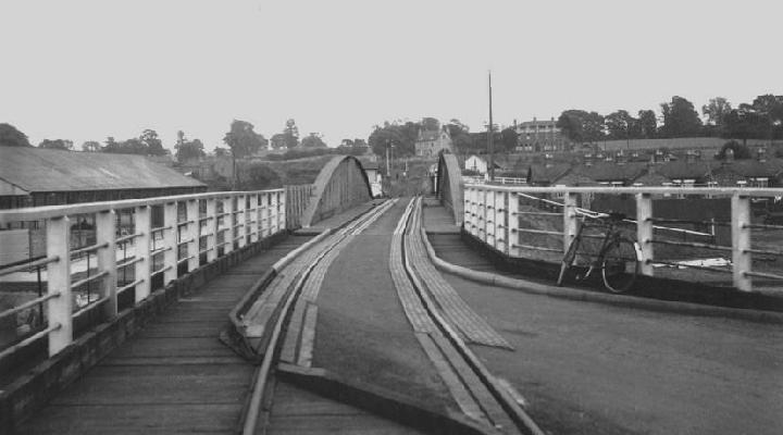 High level swing bridge from  the west