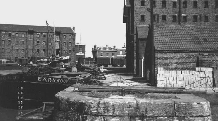 Quay at Gloucester Dock, east side from entrance Victoria Dock, looking north